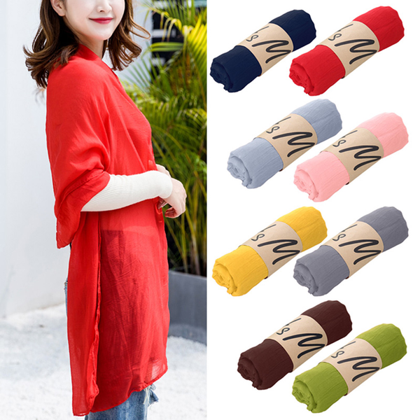 Long scarf soft wrap shawl cotton linen for women solid color