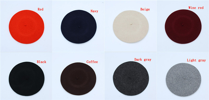 Women brand classic solid color winter french style beret artist