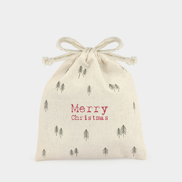 East of India Merry Christmas Drawstring Canvas bag MINI x 1