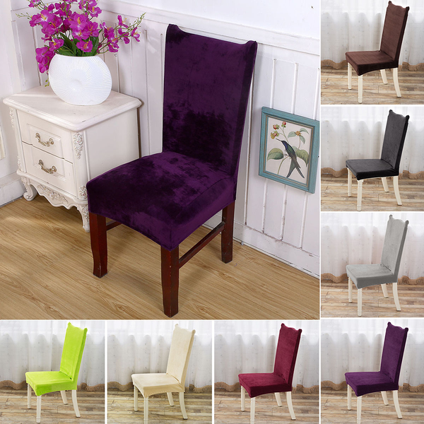 Stretch elastic plush dining kitchen home short chair seat cover