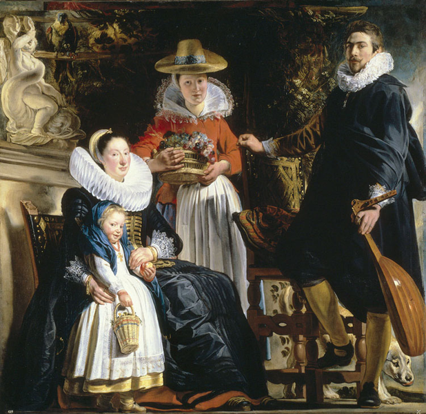 The Artist and His Family in a Garden,Jacob Jordaens,50x50cm