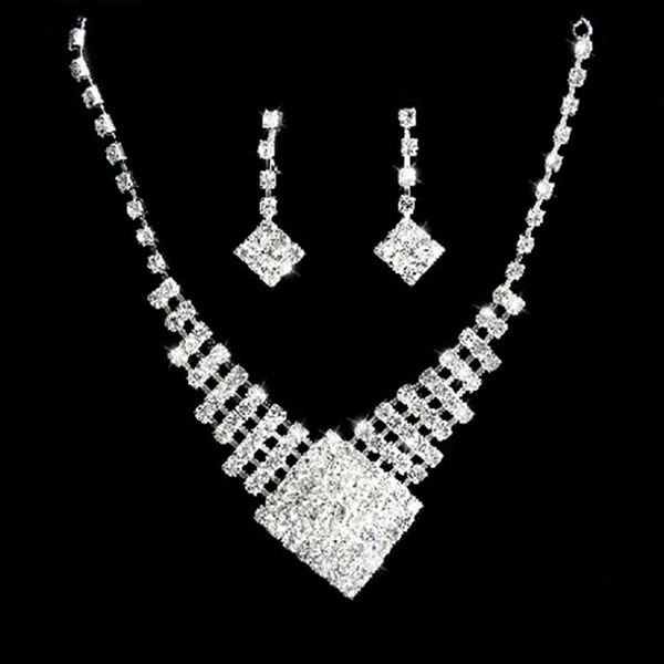 Fashion crystal drop necklace earrings jewelry set wedding party