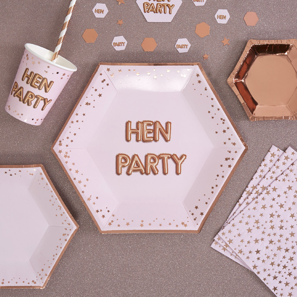 Large Sosa & Rose Gold Party Paper Plate 'Hen Party' x 8