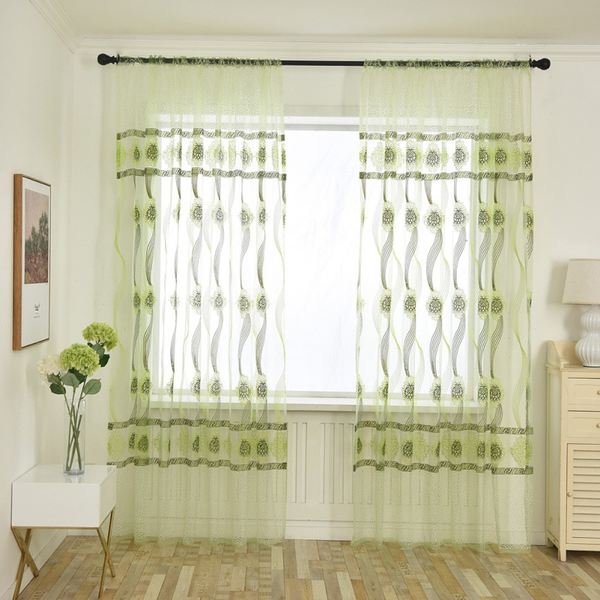 Shading modern style curtain polyester tulle waved