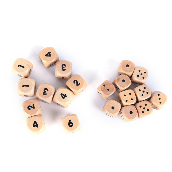 10pcs wood dice 16mm kid toys game 6 sided dice number or point