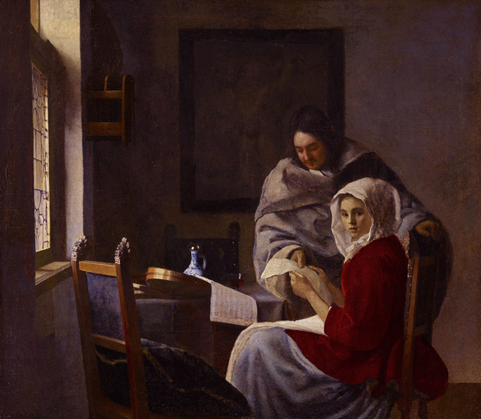 Girl Interrupted at Her Music r,Johannes Vermeer,39.4x44.5cm