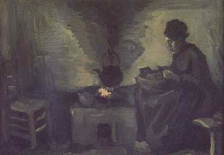 Peasant Woman Woman Woman near the Hearth,Vincent Van Gogh,22x40cm aac035