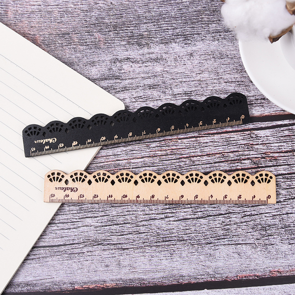 1x kawaii 15cm stationery lace wood ruler sewing ruler office sc