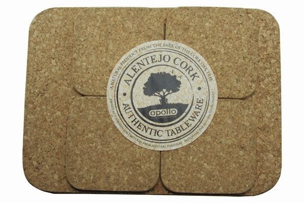 Set of 4 Cork Cork Cork Placemat and 4 Coasters for Plate and Mug Table Pr 820228