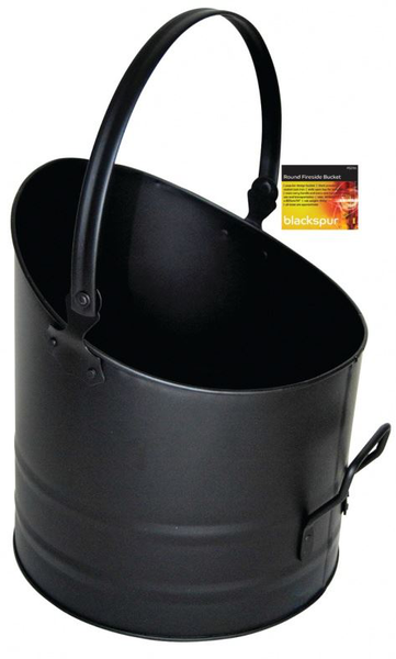 Round fireside bucket with handle black