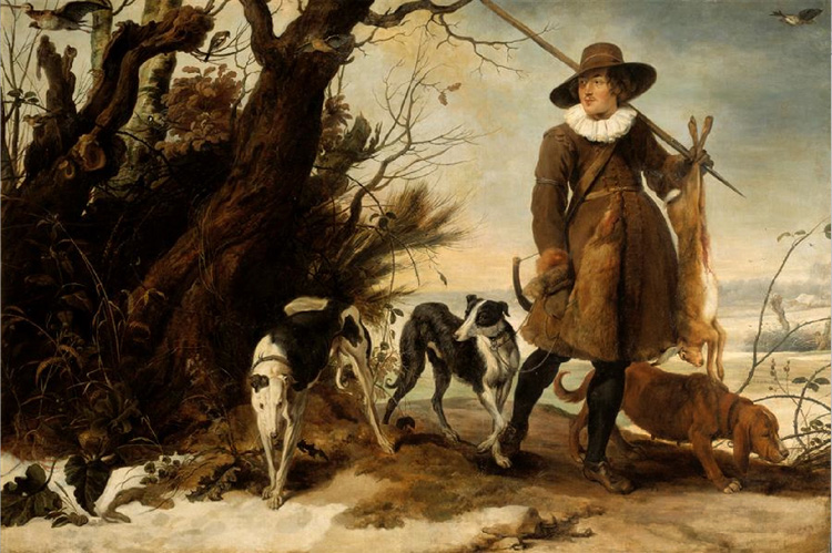 A Hunter with Dogs Against a Landscape,Jan Wildens,60x40cm
