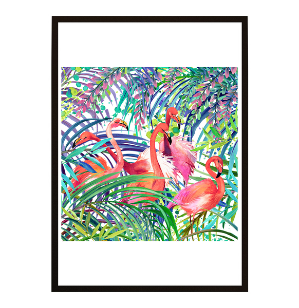 Poster - Flamingo tropical forest 21x30cm