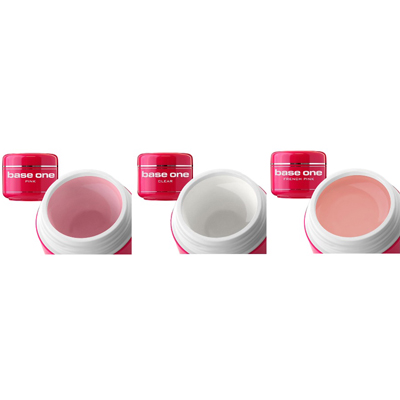 Base one – 3-pack uv-gelé – clear pink french pink – 30 gram