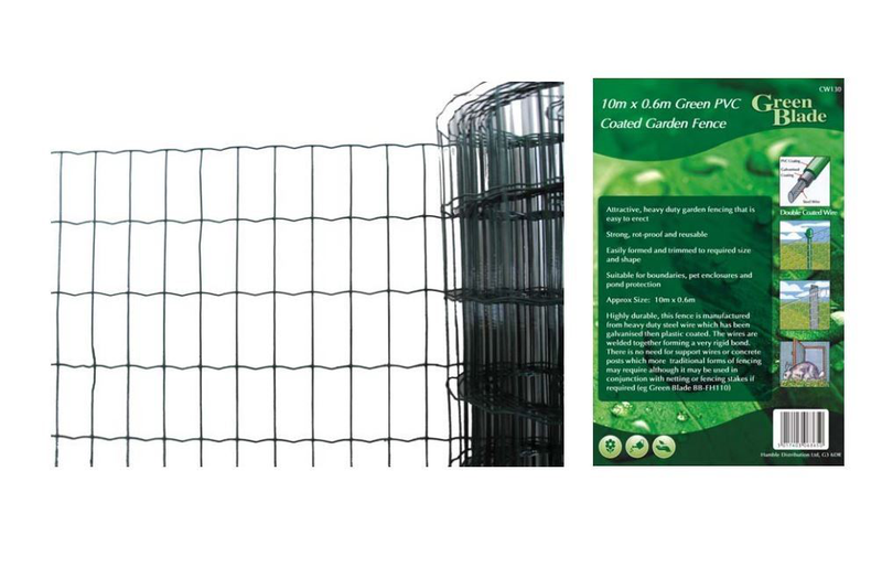 10m X 0.6m Grön PVC Coated Garden Fence Wire Edging Fencing Net